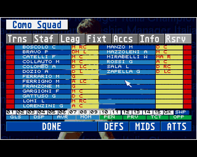 Championship Manager Italia '95 in-game screen.