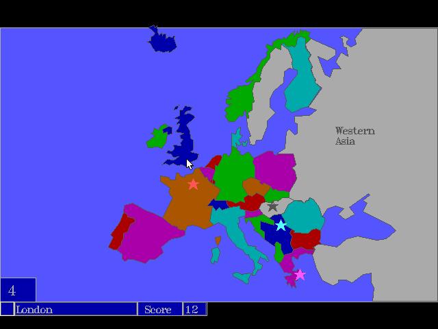 Europe Geography Quiz Game MSDOS Game - Geography quiz game