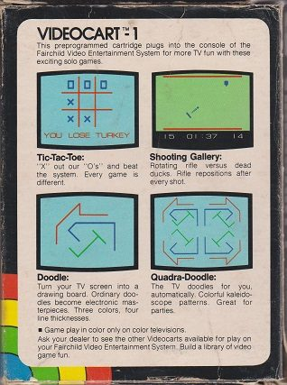Videocart 1: Tic Tac Toe - Shooting Gallery - Doodle - Quadradoodle  package image #1